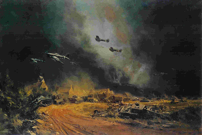 Rocket Firing Typhoon's at the Falaise Gap by Frank Wootton