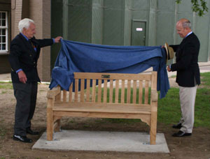 Ken Wilkinson and Bill Wratten unveiling the benches